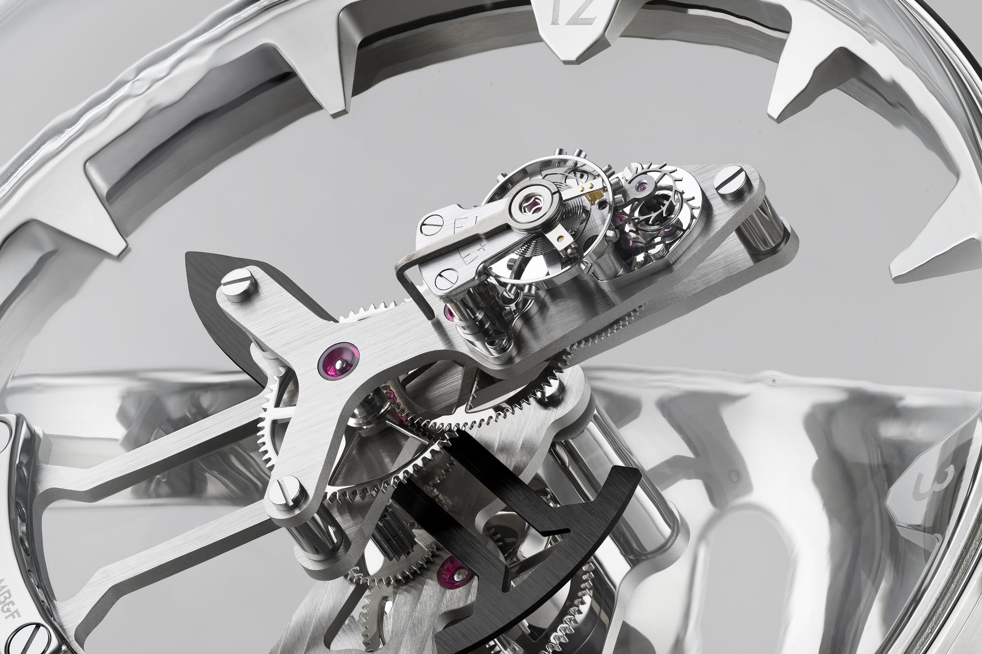 Closeup of the MB&F Octopod movement; the balance, lever and escape wheel are mounted on the upper surface of the minute hand. Introducing: The MB&F And L'Epe 1839 Octopod Clock Introducing: The MB&F And L'Epe 1839 Octopod Clock escapement macro