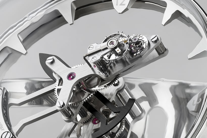 Closeup of the MB&F Octopod movement; the balance, lever and escape wheel are mounted on the upper surface of the minute hand.