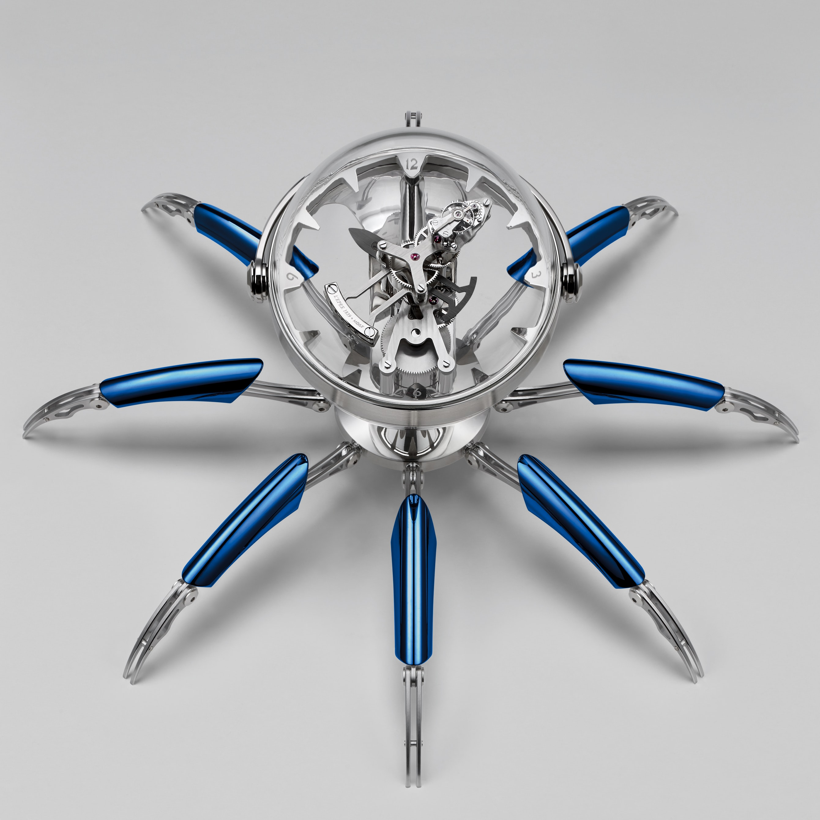Octopod clock blue PVD version seen from above introducing: the mb&f and l'epe 1839 octopod clock Introducing: The MB&F And L'Epe 1839 Octopod Clock Octopod Top Blue HRES CMYK