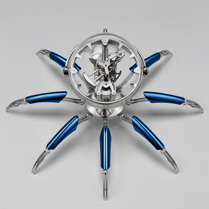 Octopod clock blue PVD version seen from above