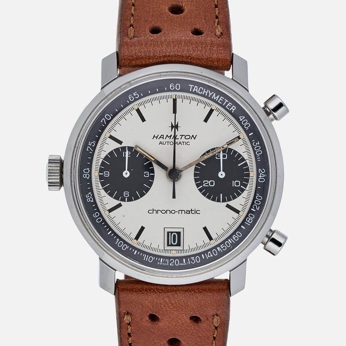 3780141de A 1970 Hamilton Chrono-Matic, one of the inspirations for the watch we have  here.