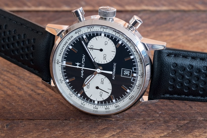01bf229e9 The classic reverse panda dial color scheme makes this watch striking from  the start. The Intra-Matic 68 ...