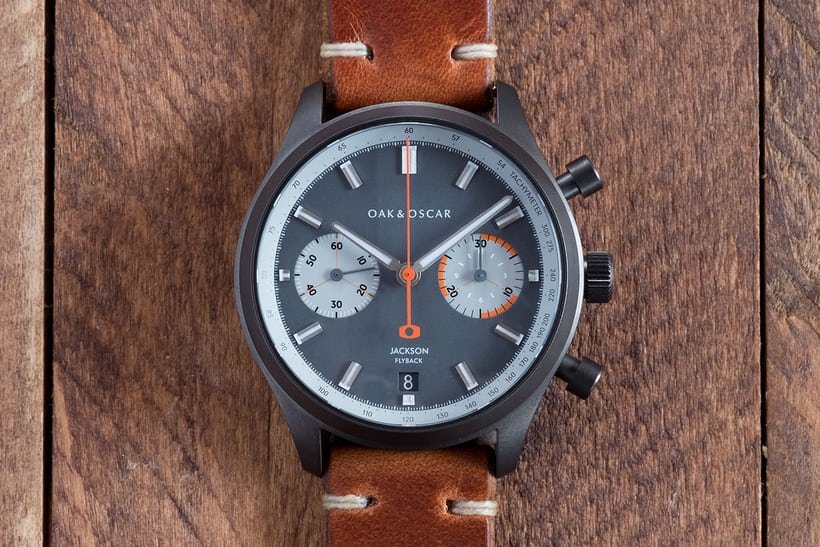 oak and oscar jackson flyback chronograph grey pvd