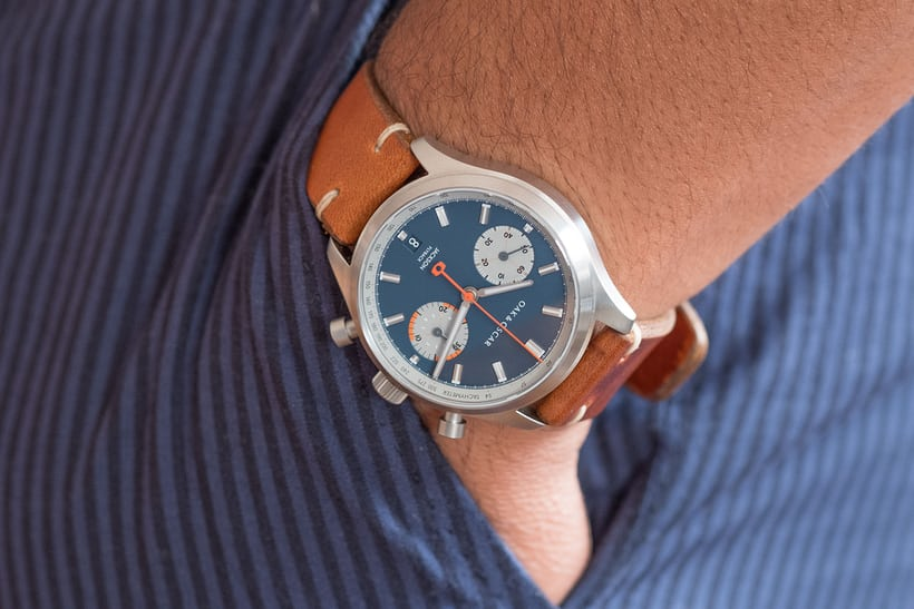 oak and oscar jackson flyback chronograph blue wristshot