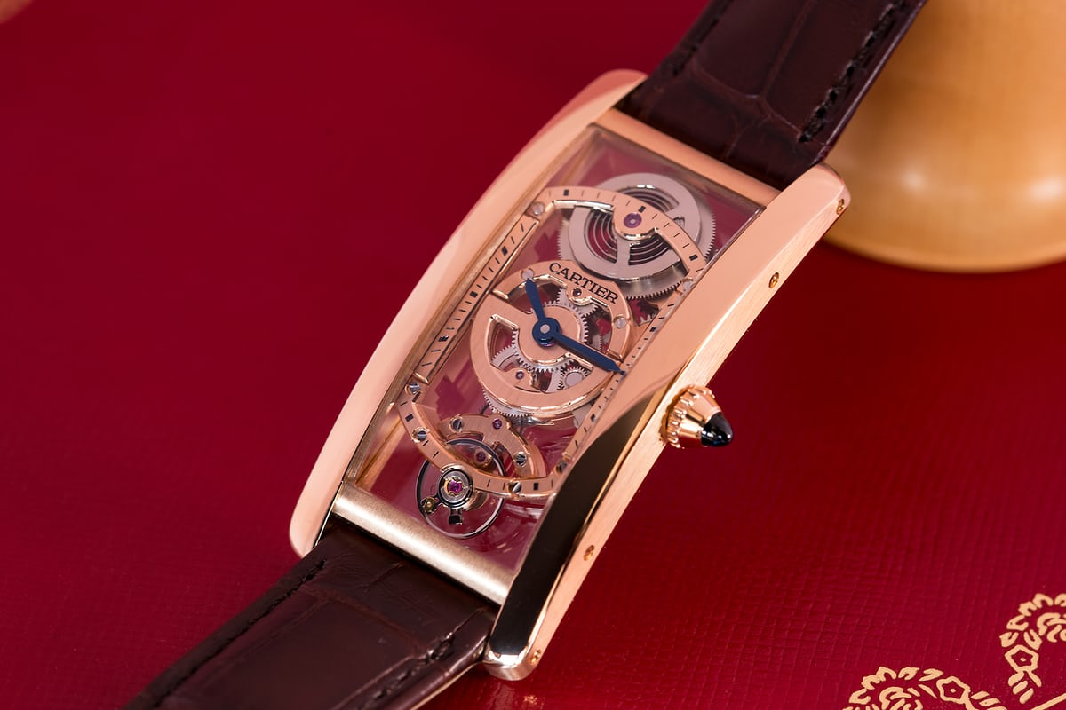 cartier tank cintree skeleton dial side, oblique view