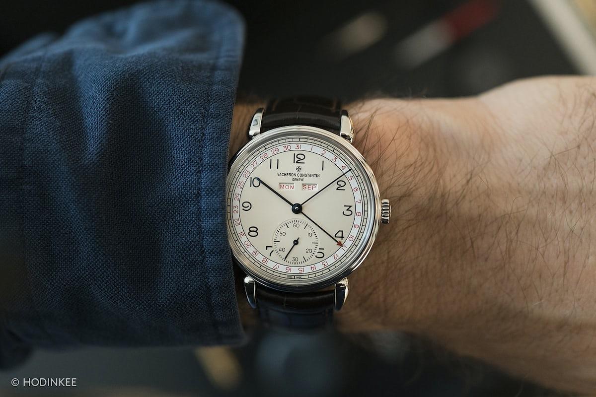 vacheron historiques 1942 red date numerals wrist shot