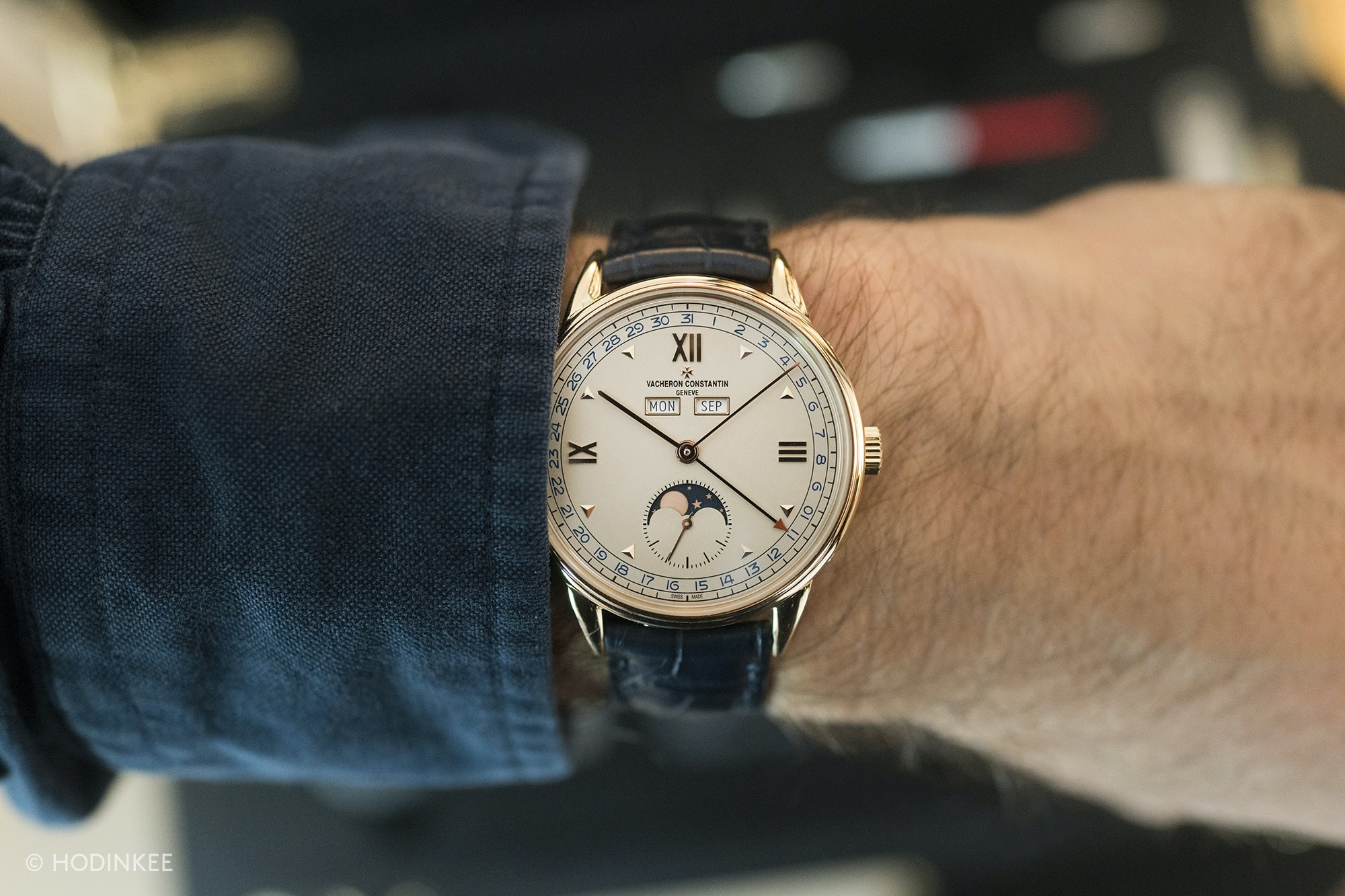 vacheron historiques 1948 blue date numerals wrist shot  Introducing: The New Vacheron Constantin Historiques: Triple Calendrier 1942 And 1948, And American 1921 Small (Exclusive Live Pics) DSC00098 copy