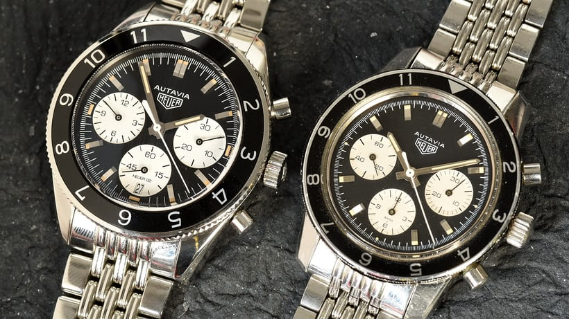 vintage autavia and modern tag heuer version side by side