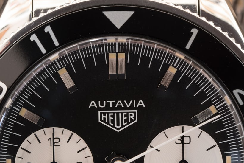 Tight shot of the Autavia dial