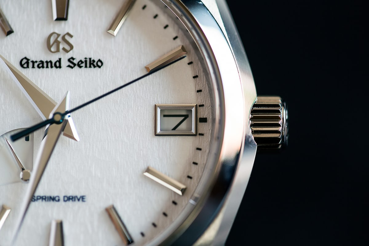 grand seiko snowflake dial closeup date window