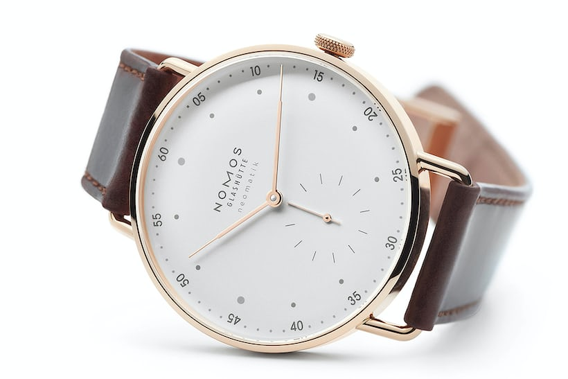 nomos glashutte metro 39mm neomatik rose gold
