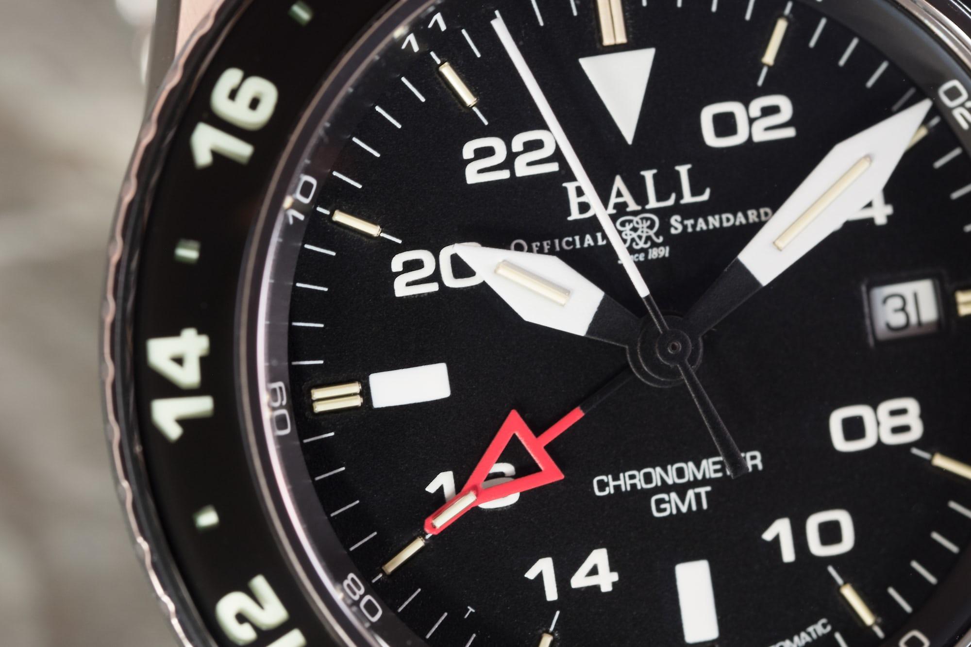 Ball Engineer Hydrocarbon AeroGMT II dial closeup
