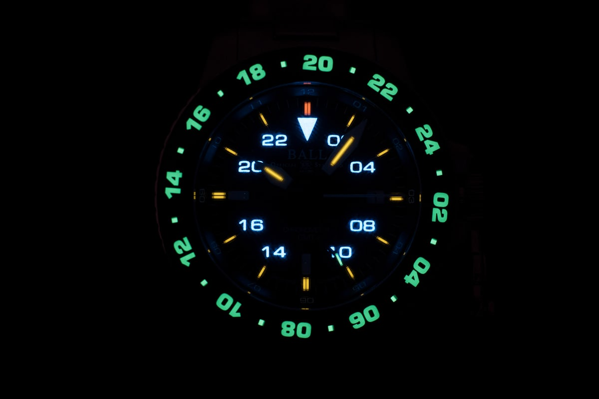 Ball Engineer Hydrocarbon AeroGMT II lume shot/night view