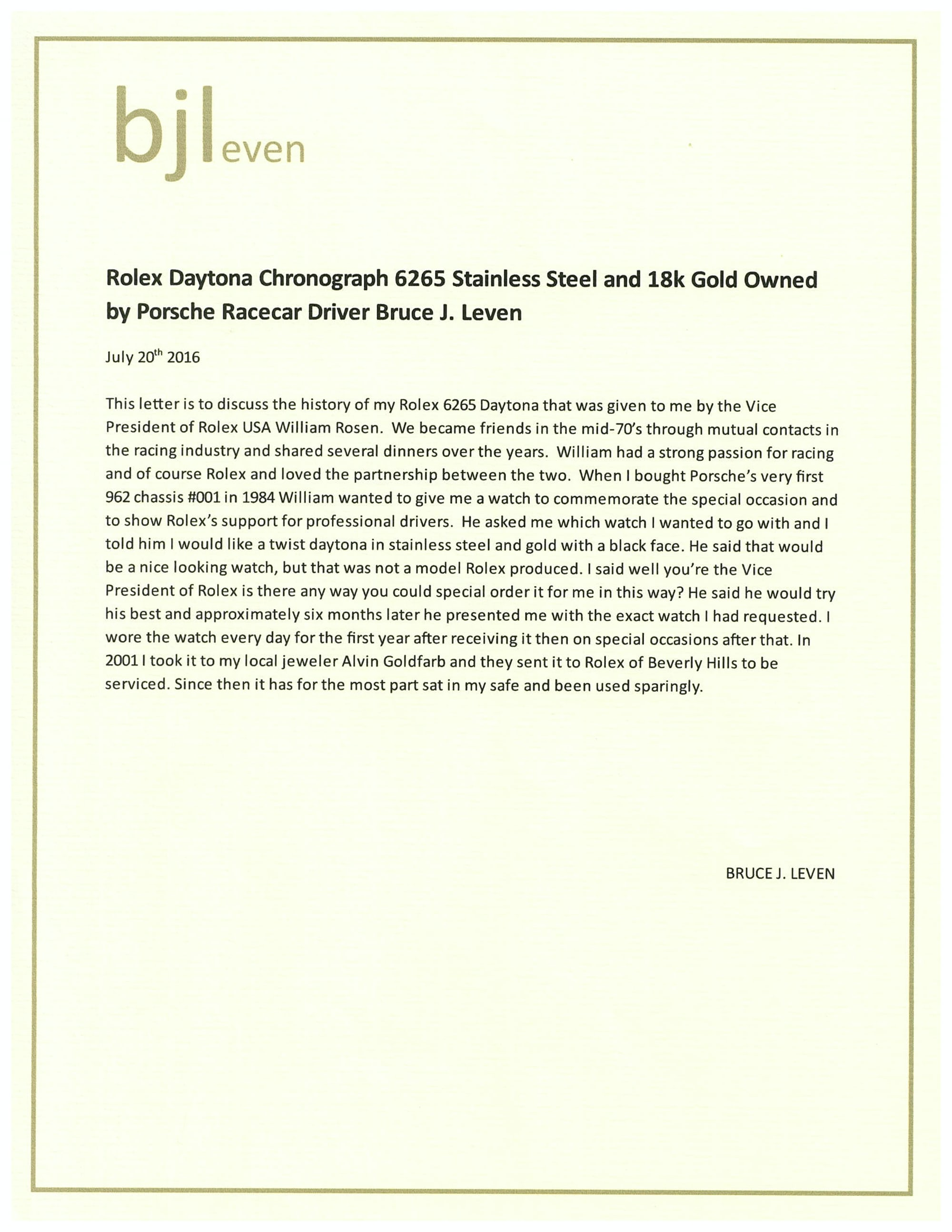 <p>Letter from Bruce J. Leven describing how he obtained a possibly unique two-tone Rolex Daytona 6265/3.</p>