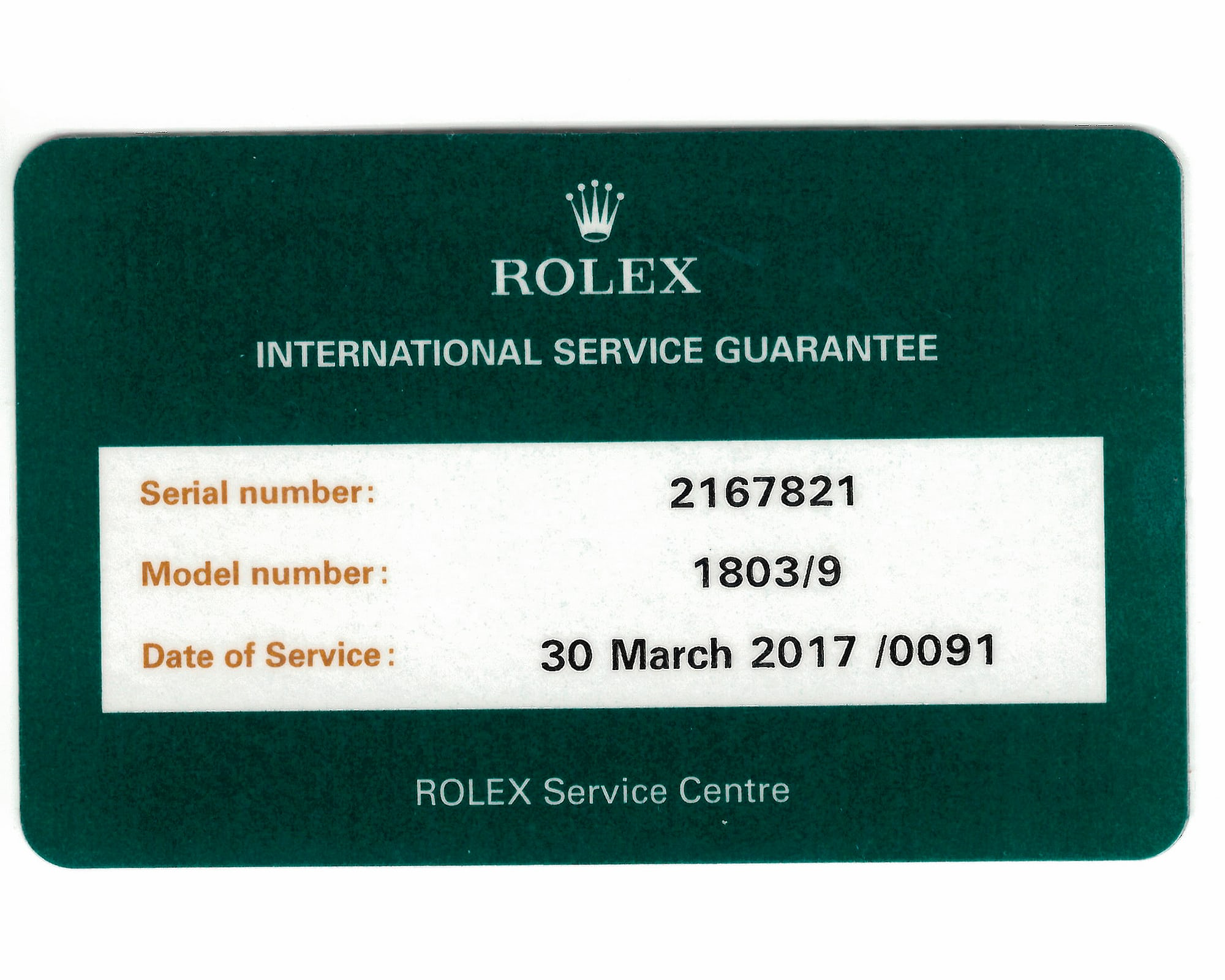 <p>The new service card provide by Rolex.</p>