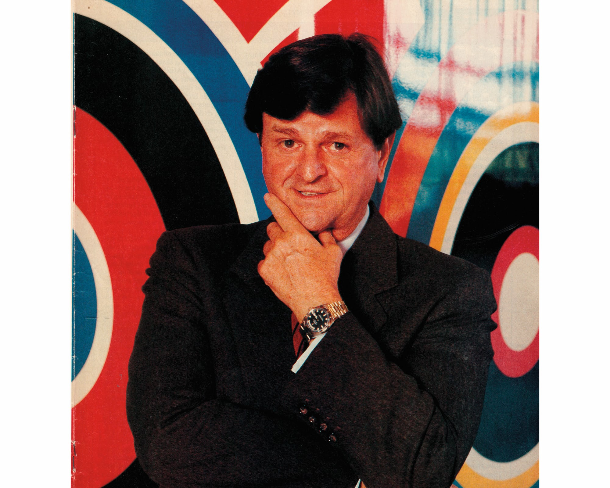 <p>The original owner wearing his unusual timepiece.</p>