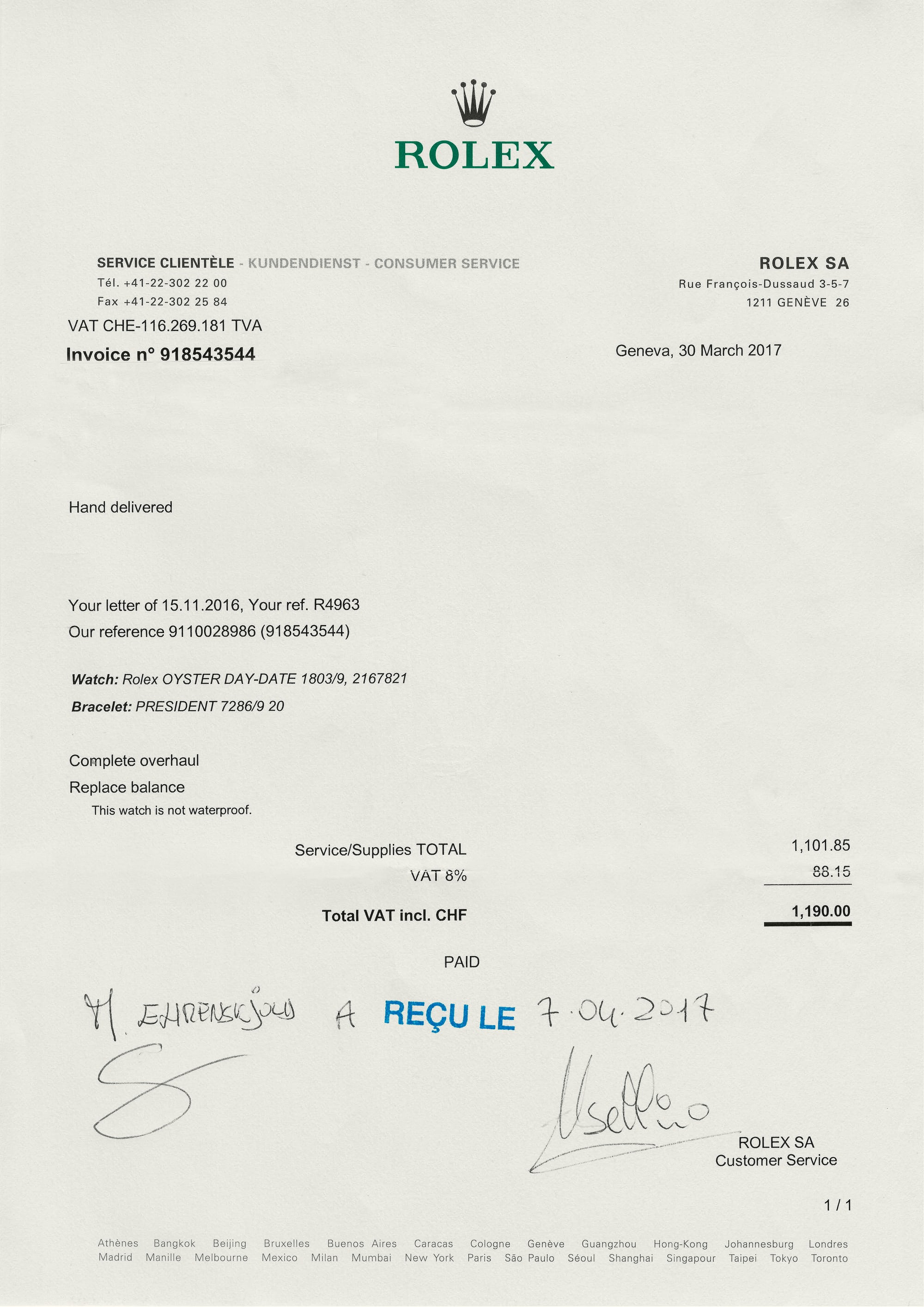 <p>2017 service paperwork from Rolex.</p>