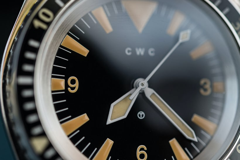 CWC 1980 Royal Navy Diver Re-Issue dial detail