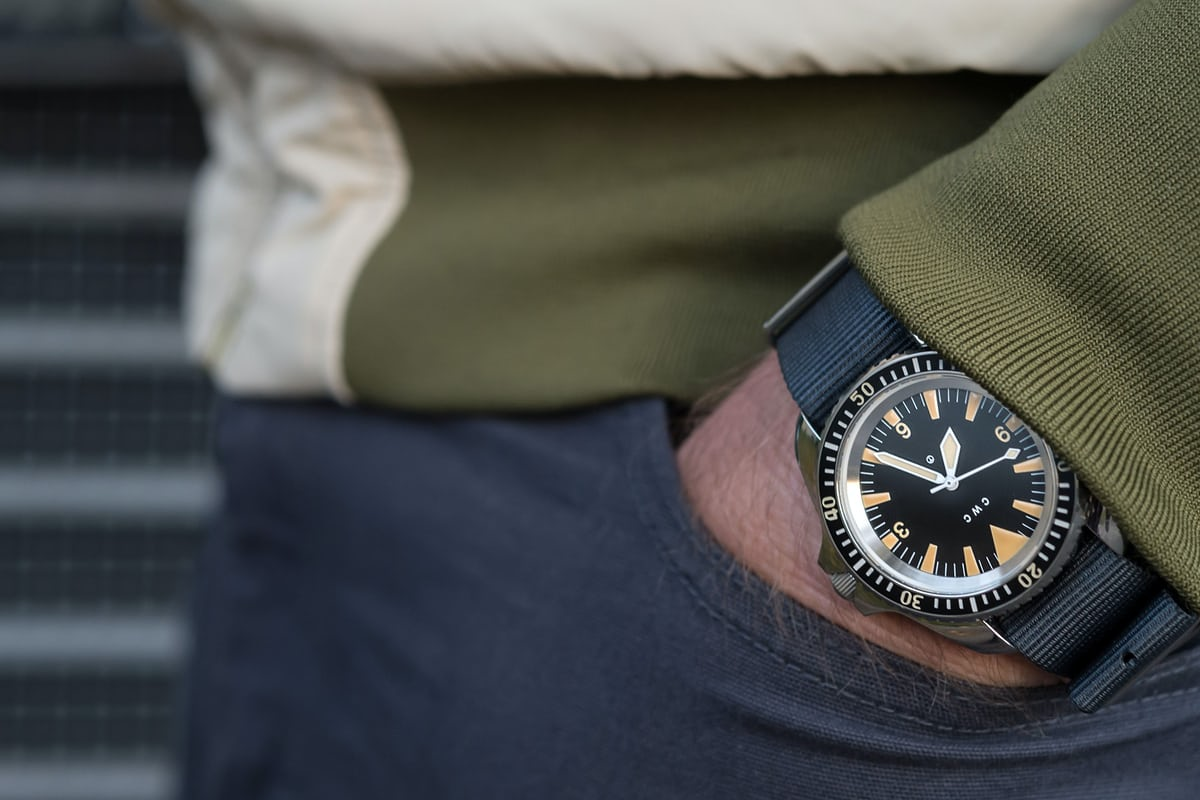 CWC 1980 Royal Navy Diver Re-Issue wristshot