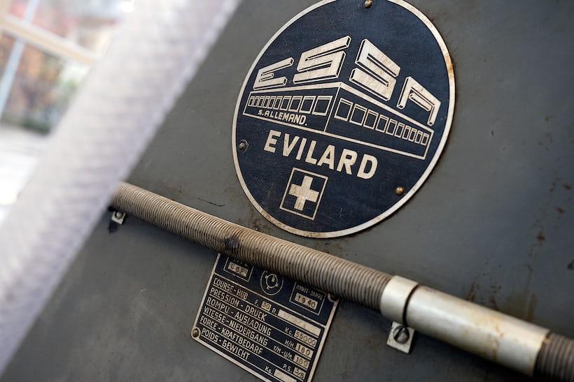 manufacturer's identification plate, stamping machine, Montblanc Minerva