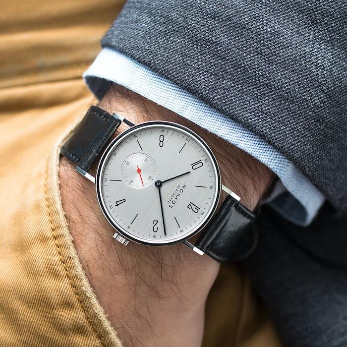 nomos tangente neomatik 39 silvercut wristshot
