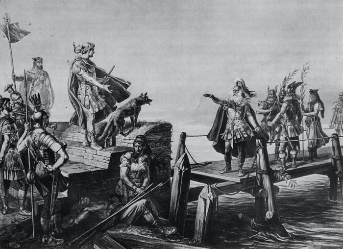 Caesar and Dvico of the Helvetii negotiating