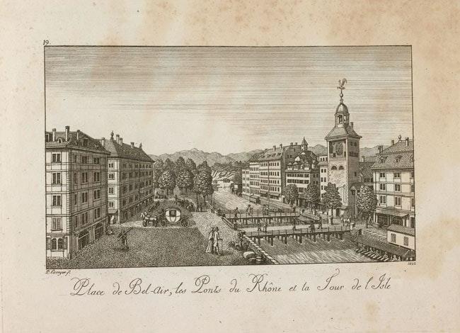 Dispatches: Public Clocks And Sundials In Geneva (Including That Church Clock Rolex Has Been Winding For 77 Years) Place de Bel Air les Ponts du Rhone et la Tour de lIle 1822 Geneve