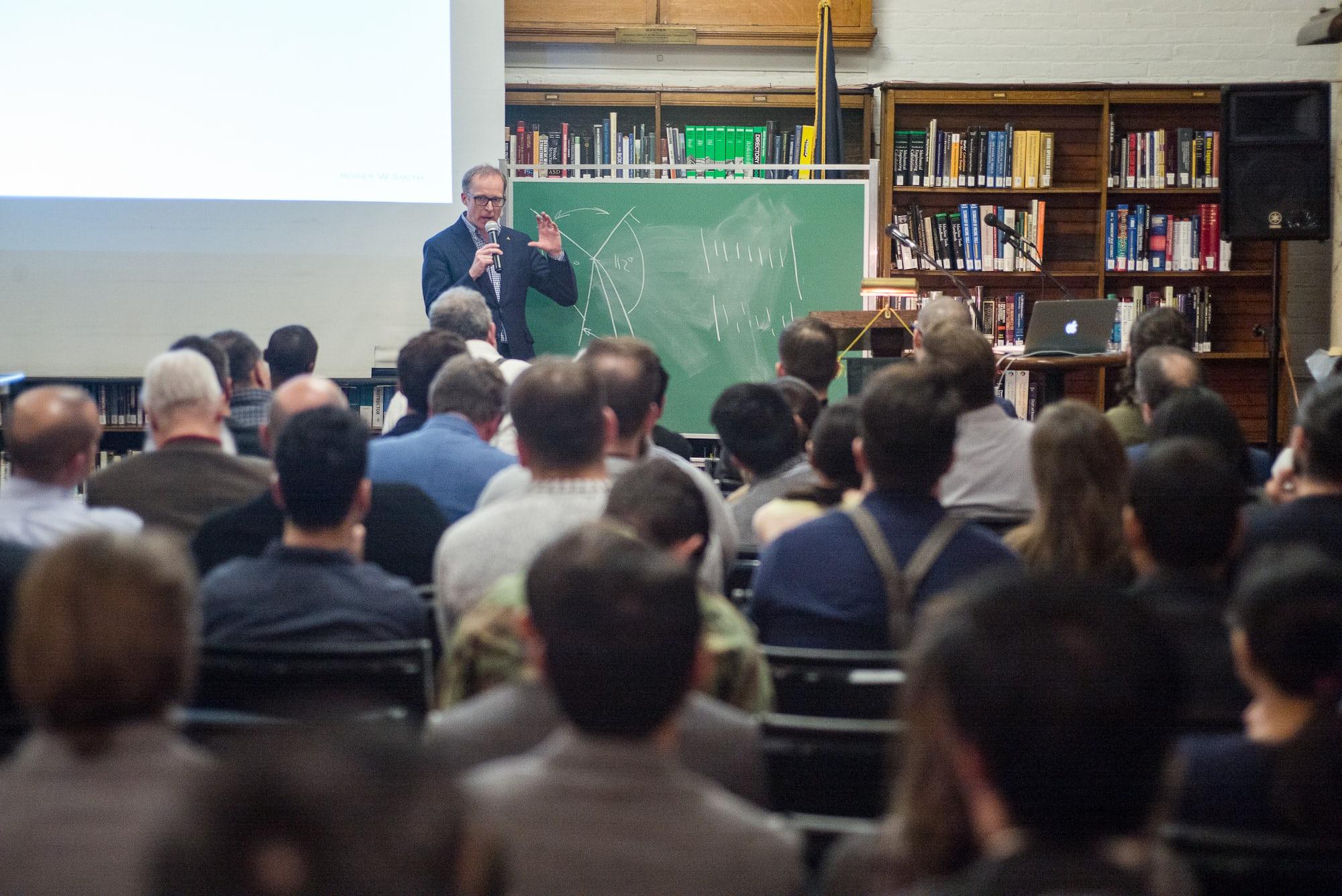 <p>Smith discussing escapement mechanics.</p>