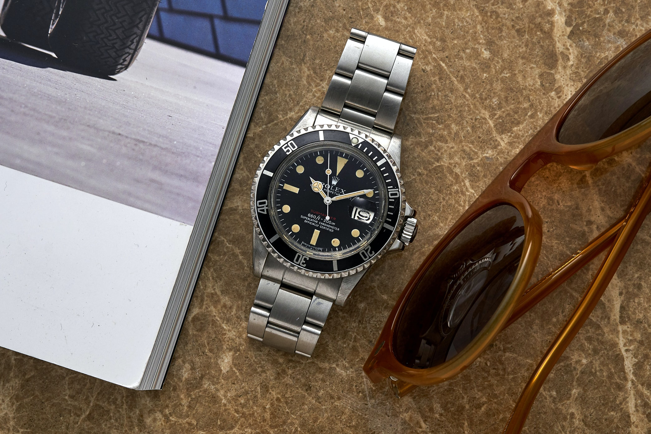 In The Shop - Vintage Watches: A 1960s Doxa Sfygmos Pulsometer, A 1960s Eterna Chronograph, And A 1972 Rolex 'Red' Submariner 1680