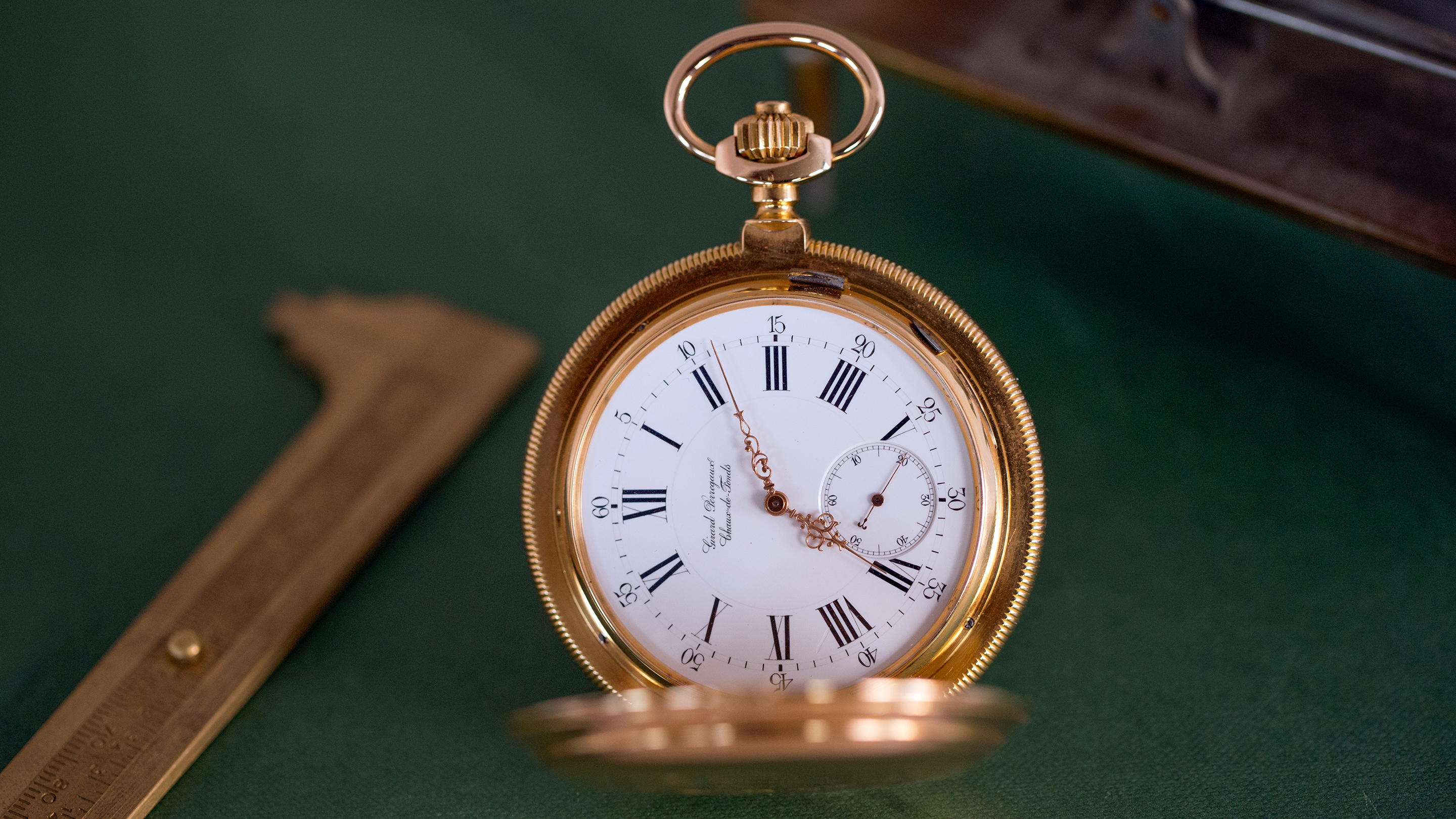 Antique Jewelry & Watches Girard Perregaux 18k Solid Yellow Gold Enamel Dial Pocket Watch