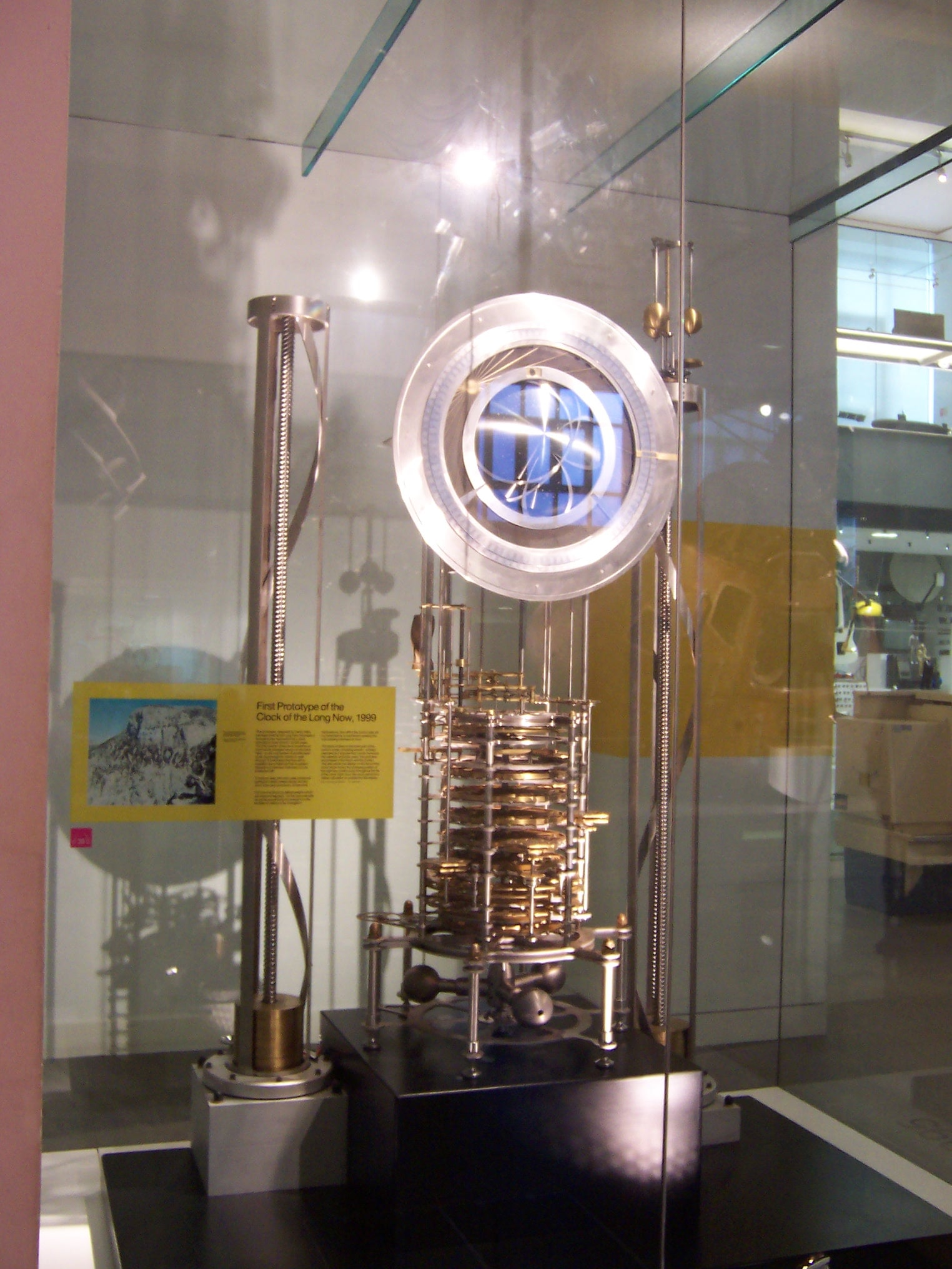 A working prototype, on display in the London Science Museum.   Just Because: A Clock Designed To Run For 10,000 Years Is Being Installed In A Texas Mountain Clock of the Long Now