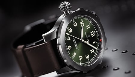 Navitimer super 8 in titanium with military green dial and brown nato leather strap hero.jpg?ixlib=rails 1.1
