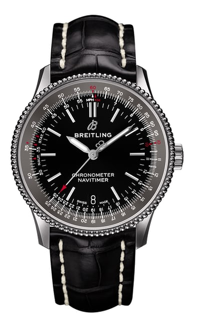 Navitimer 1 automatic 38 with black dial and black alligator leather strap.jpg?ixlib=rails 1.1