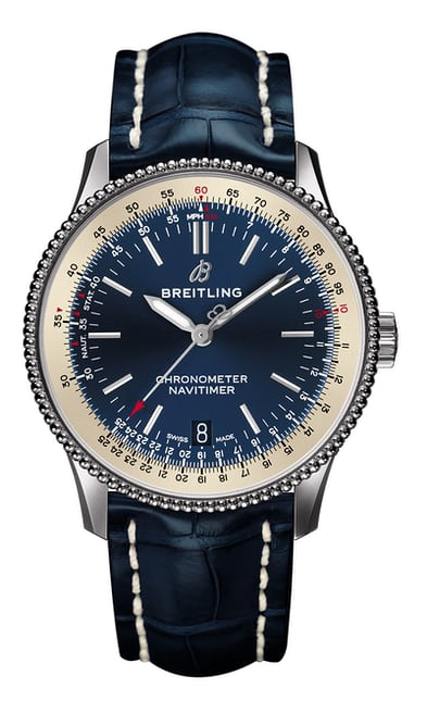 Navitimer 1 automatic 38 with blue dial and blue alligator leather strap.jpg?ixlib=rails 1.1