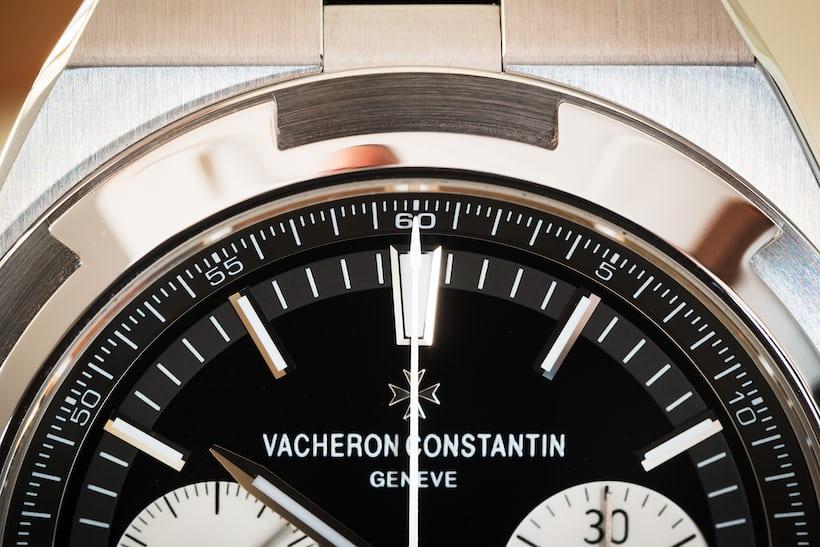 Vacheron Constantin Overseas Chronograph Panda Dial upper dial closeup
