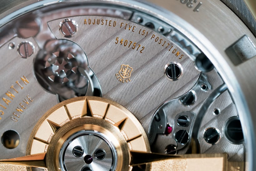Vacheron Constantin Overseas Chronograph Panda Dial caliber 5200 movement closeup