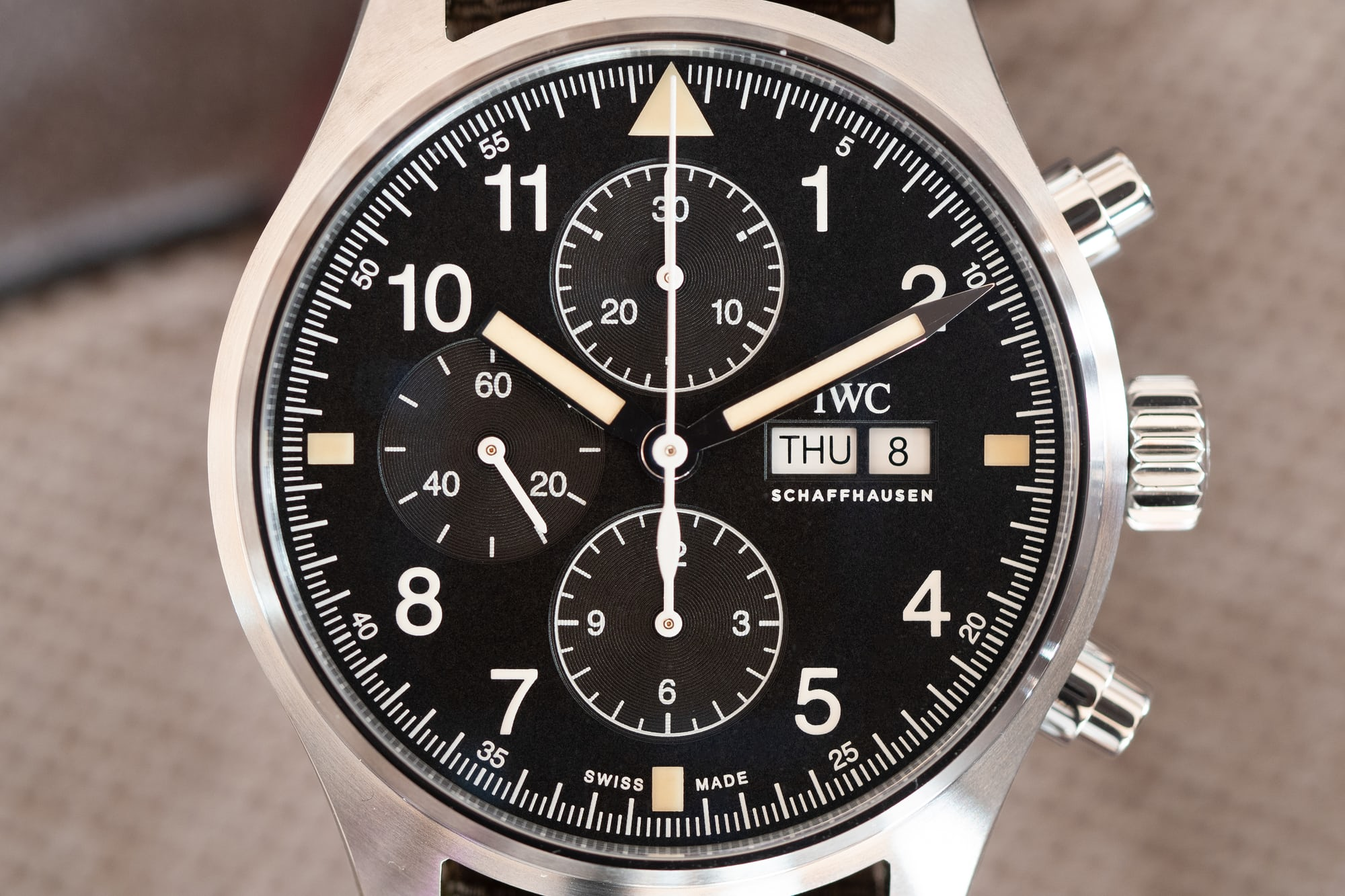 IWC Pilot's Watch Chronograph Reference IW377724 dial hands-on: the iwc pilot's watch chronograph ref. iw377724 Hands-On: The IWC Pilot's Watch Chronograph Ref. IW377724 P4250221