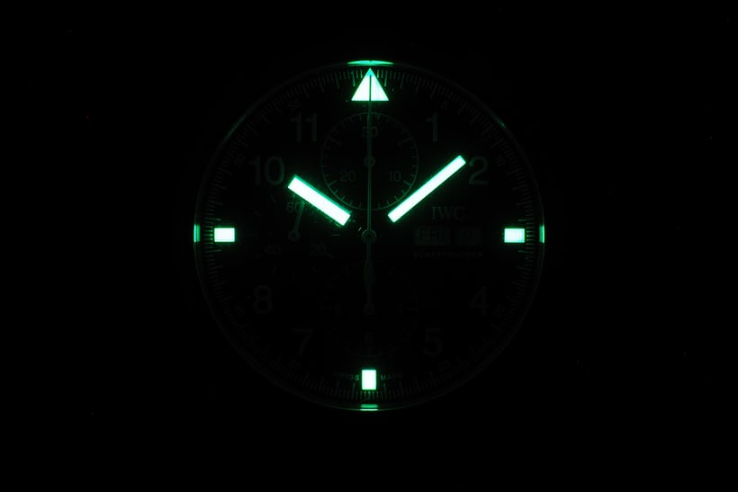 IWC Pilot's Watch Chronograph Reference IW377724 lume shot