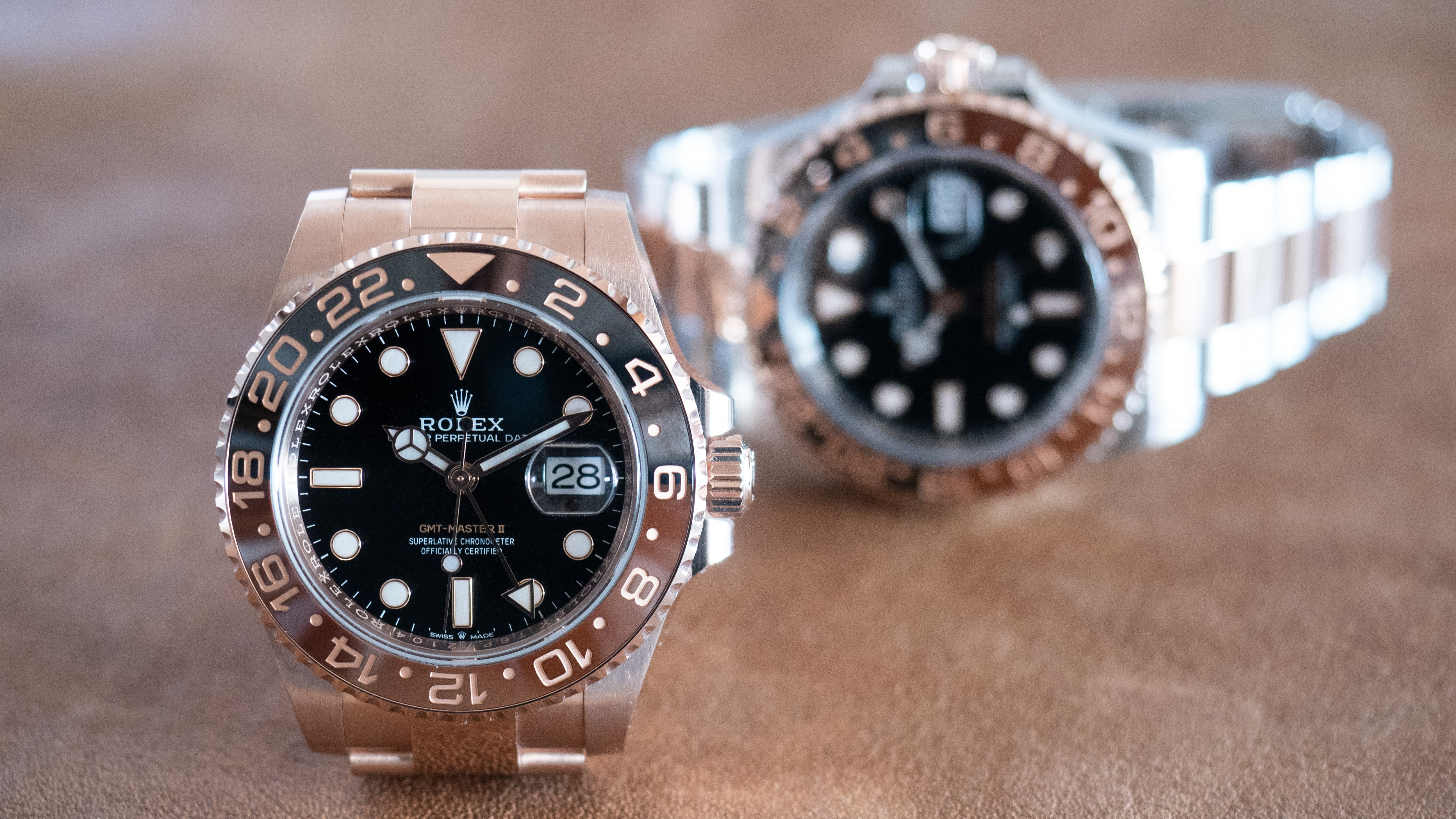 7db1637c800 Hands-On The Rolex Everose GMT Master II Vs. The GMT Master II In  Oystersteel And Everose Gold