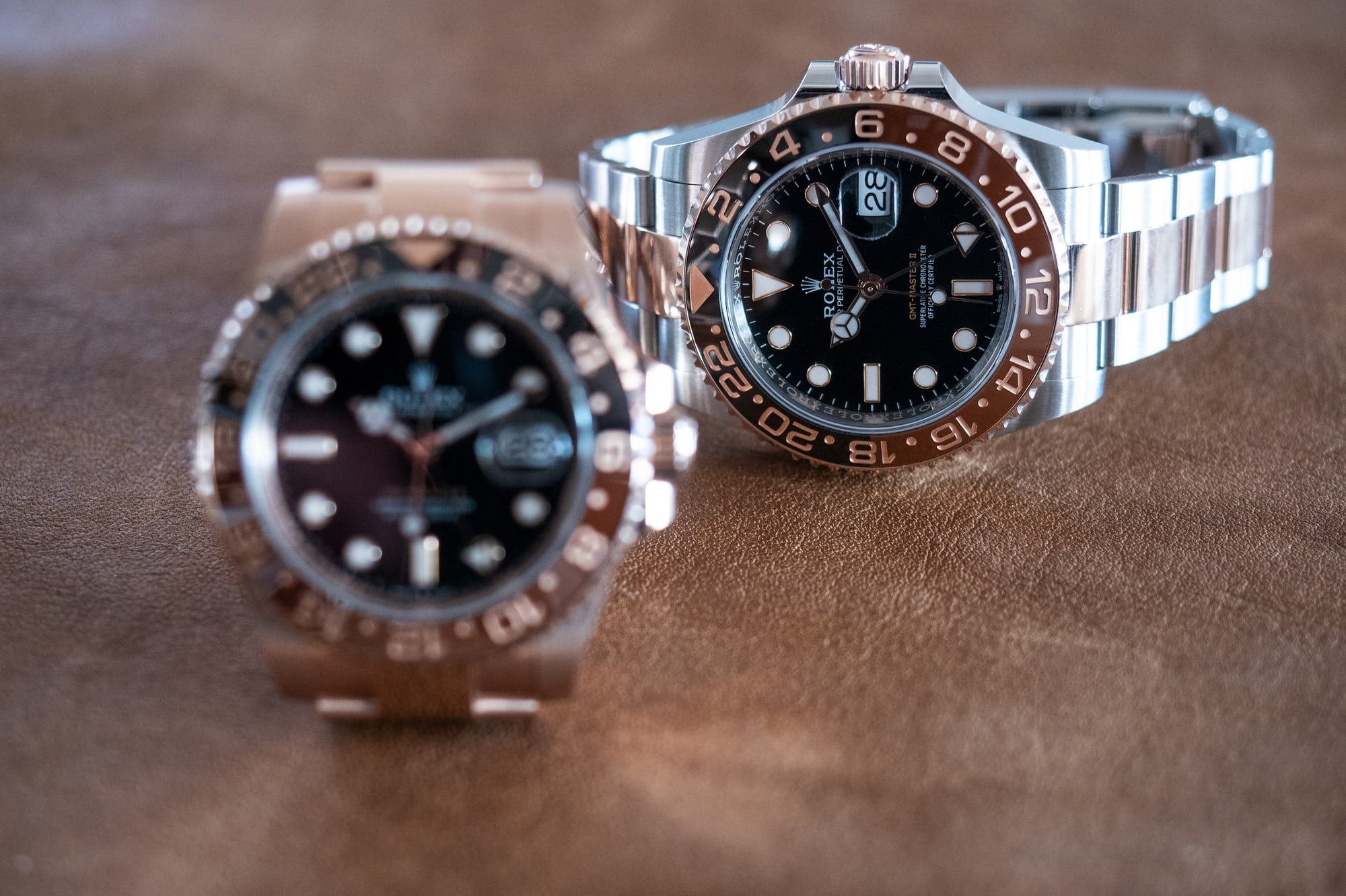 Hands-On: The Rolex Everose GMT Master II Vs. The GMT Master II In Oystersteel And Everose Gold P5240668
