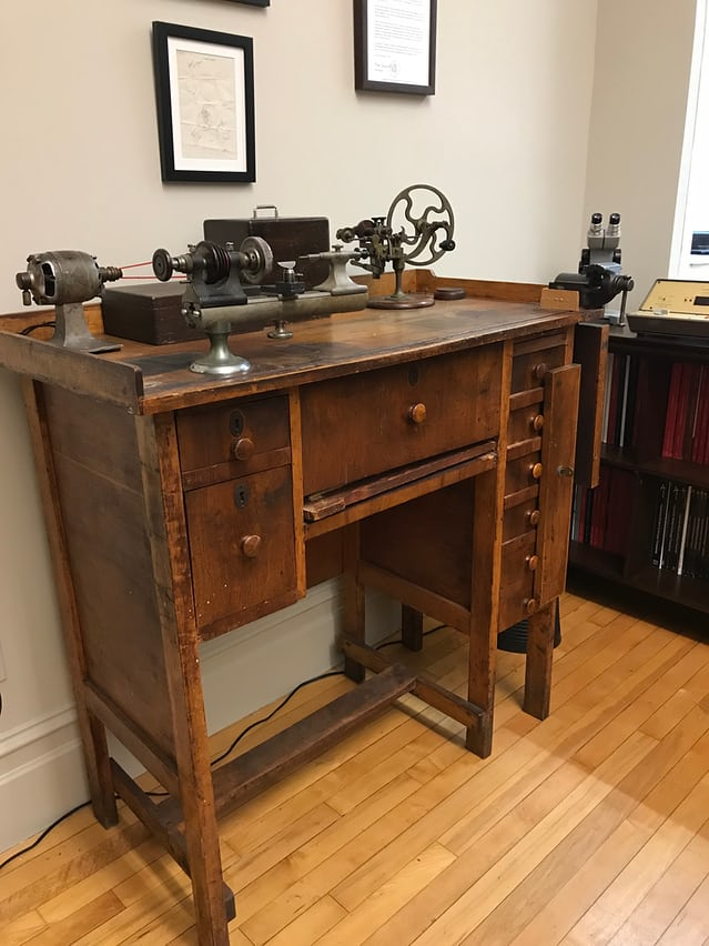 Henry B. Fried's watchmaking bench and tools