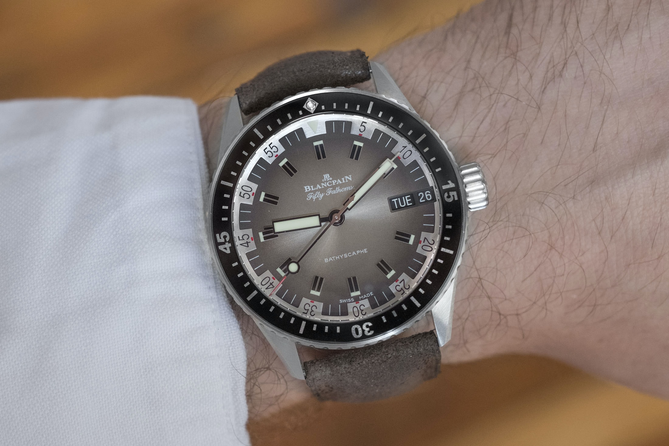 Review: The Blancpain Fifty Fathoms Bathyscaphe Day Date 70s DSCF8692