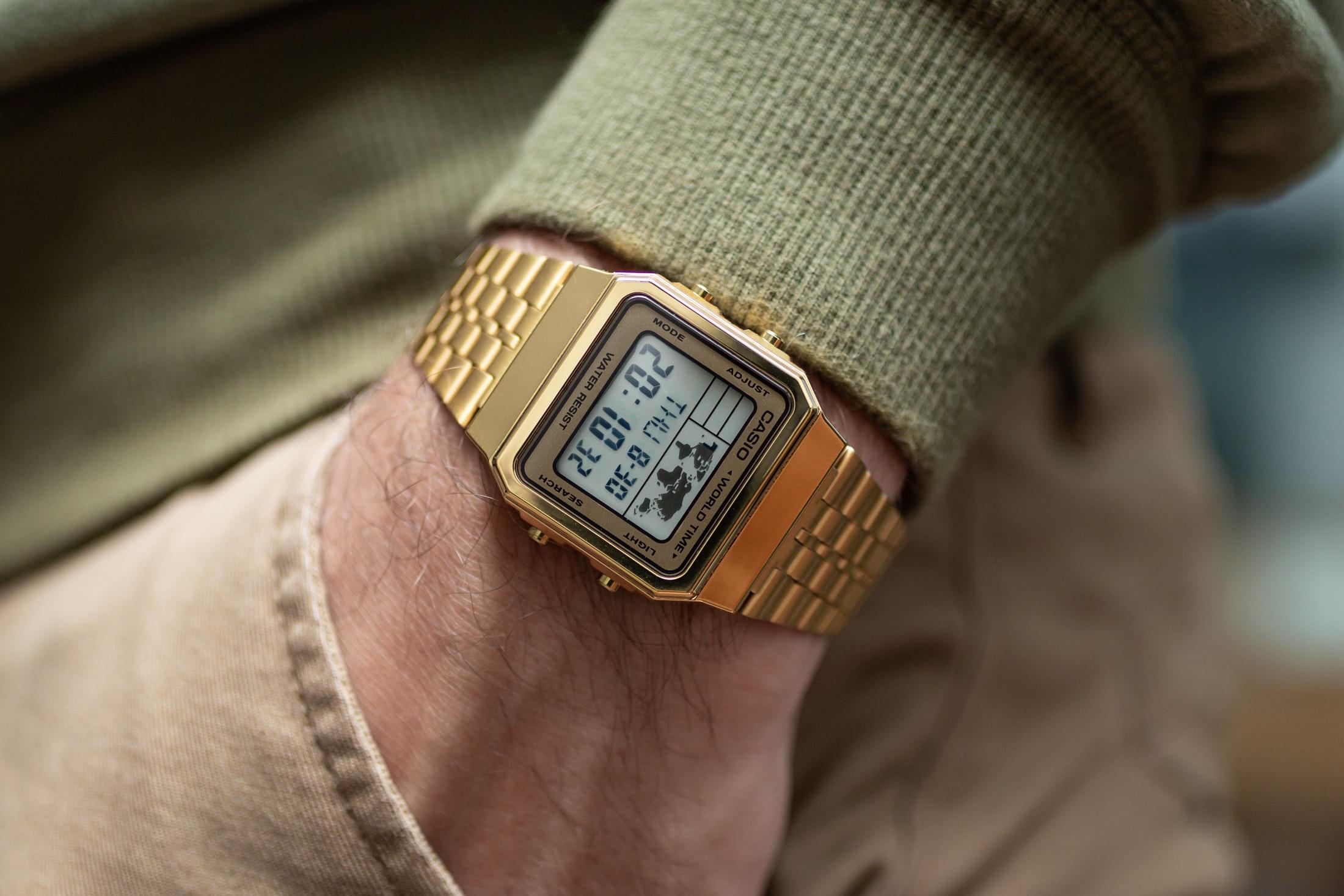 Casio World Map Watch.Hands On The Gold Casio A500wga 9df World Timer Hodinkee