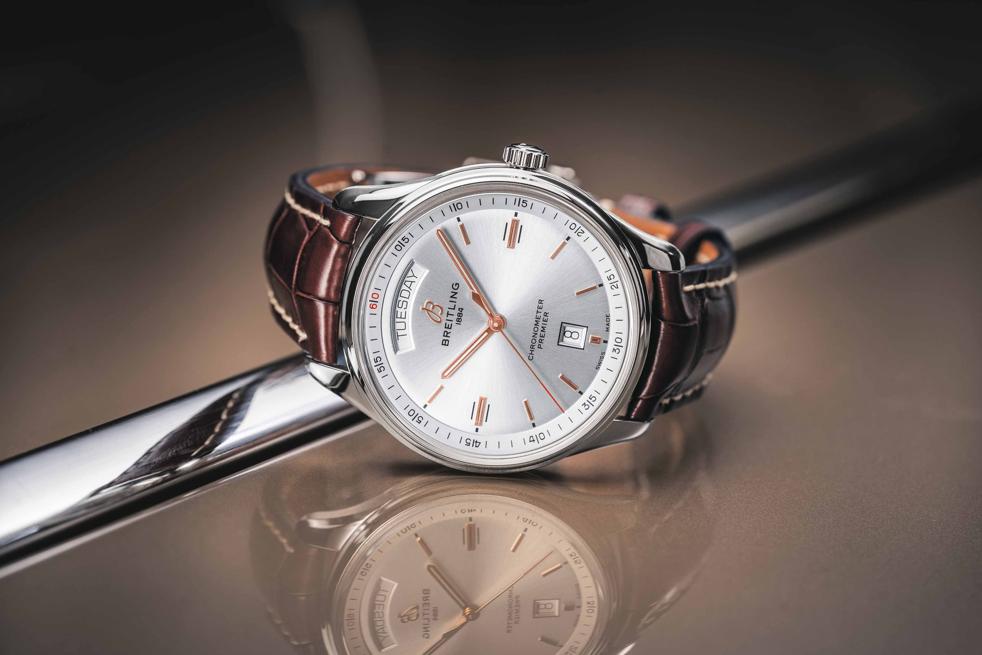 Introducing: The New Breitling Premier Collection (Live Pics & Pricing) 01 Premier Automatic Day  Date 40 with silver dial and brown alligator leather strap