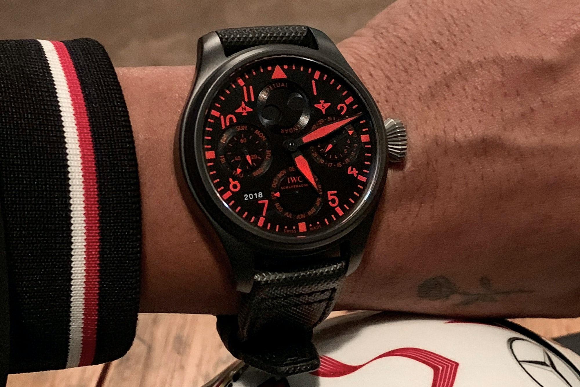 Watch Spotting: Lewis Hamilton Wears An IWC Big Pilots Perpetual Calendar QP Boutique Edition Ahead Of U.S. Grand Prix iwc