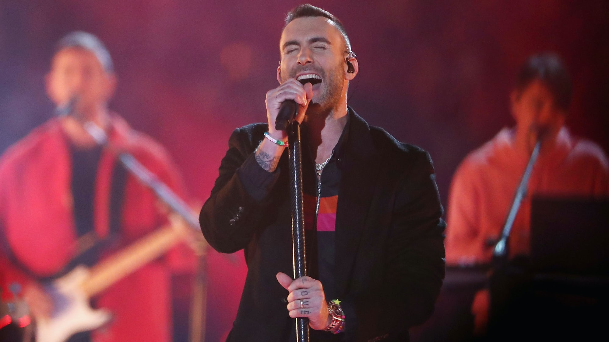 Watch Spotting: Adam Levine Wearing A Rolex Rainbow Daytona At Super Bowl LIII Halftime Show
