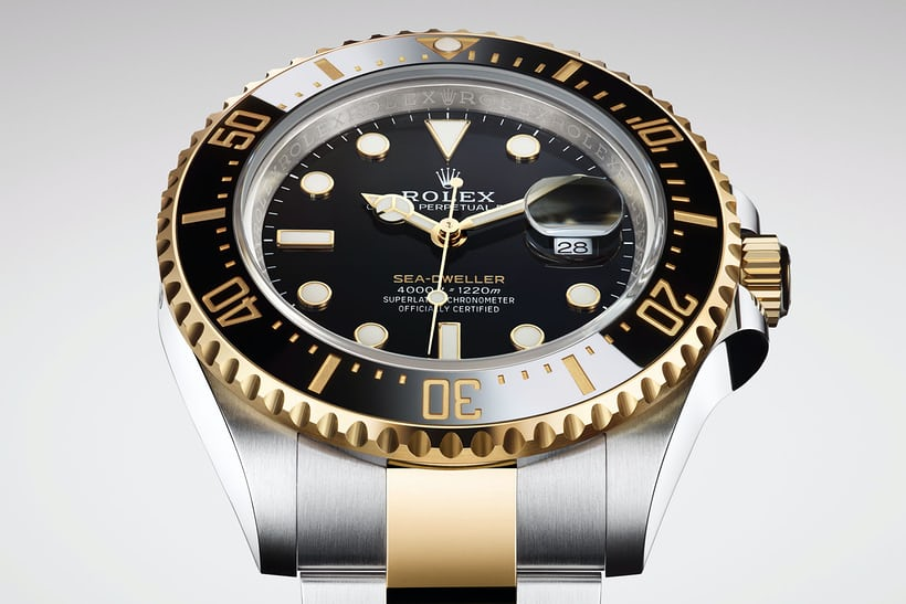 70bc83fa87b ... hands and lume surrounds on the dial are yellow gold the bezel markings  are gold-filled, and the