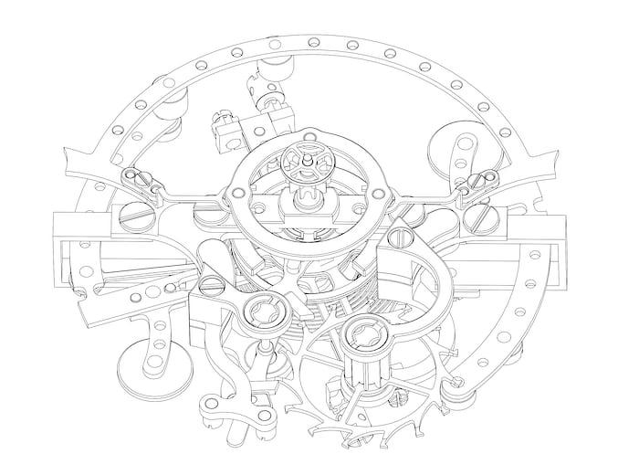 Detail of the Montres KF Spirograph Sport tourbillon