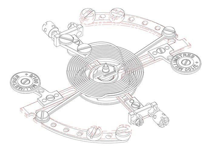 Detail of the Montres KF Spirograph Sport balance, showing the compensation movement in red