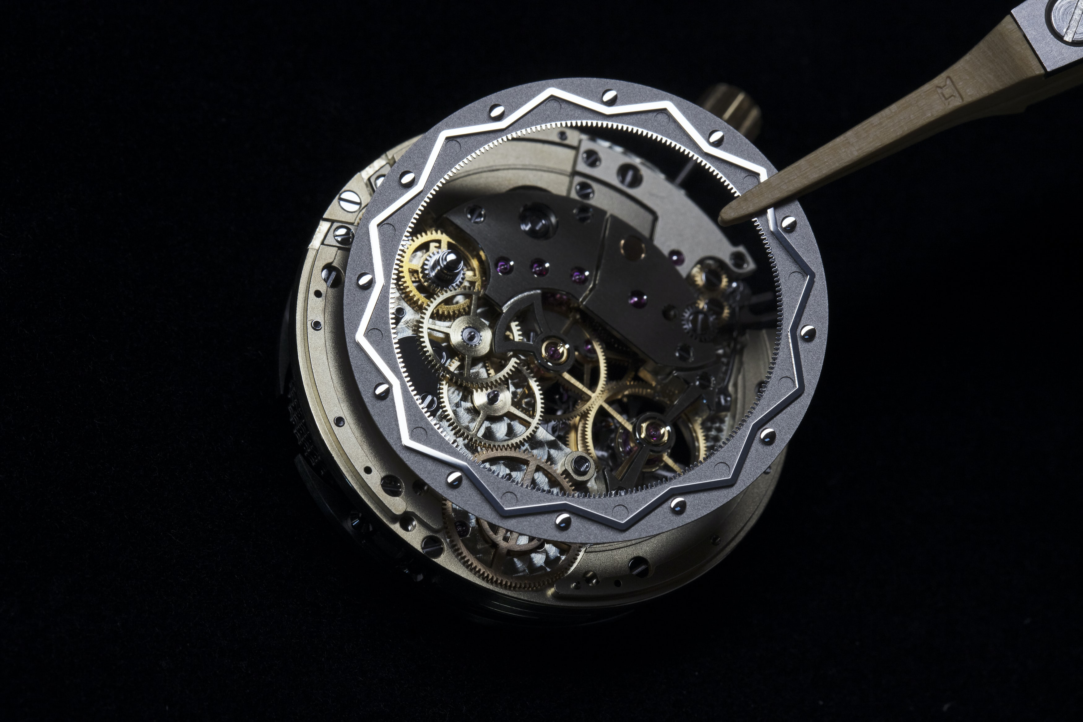 <p>Moonphase cam being installed in the movement.</p>